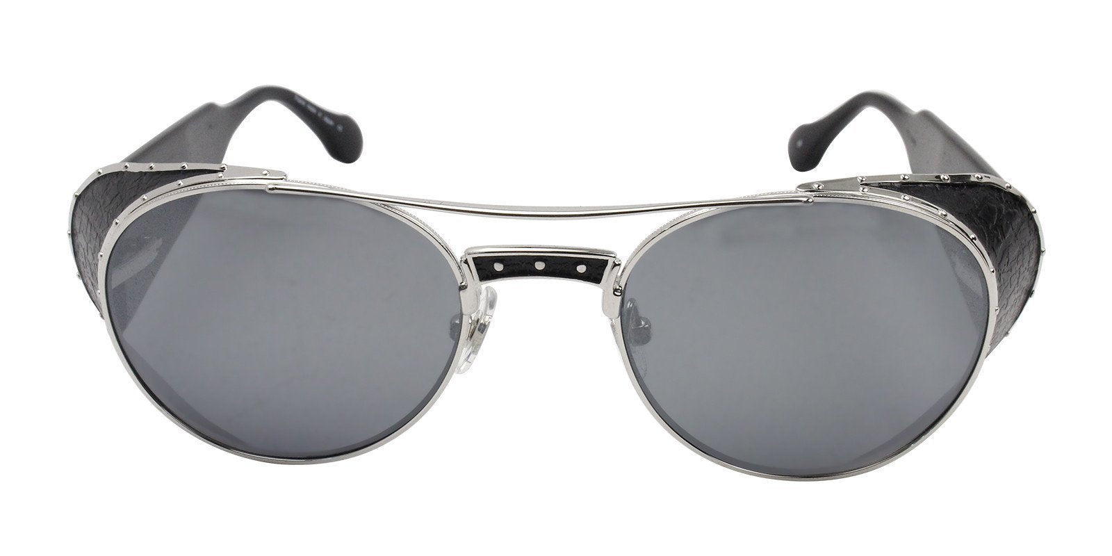 Matsuda - M3032 Silver/Silver Mirror Oval Women Sunglasses - 51mm-Sunglasses-Designer Eyes