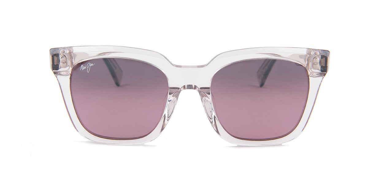 Maui Jim - Heliconia Crystal with Hint of Pink Rectangular Polarized Women Sunglasses - mm-Sunglasses-Designer Eyes