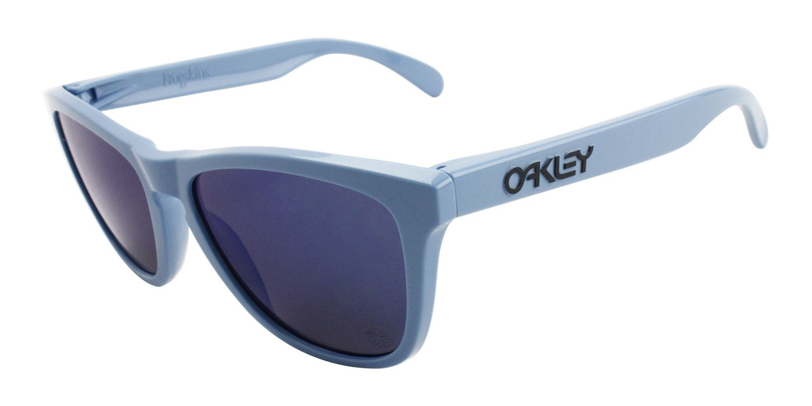 Oakley - Frogskins Blue/Blue Oval Women Sunglasses - 55mm-Sunglasses-Designer Eyes