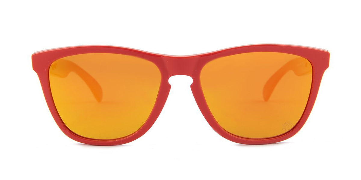 Oakley - Frogskins Red/Orange Oval Women Sunglasses - 55mm-Sunglasses-Designer Eyes