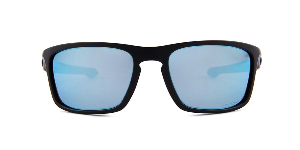 Oakley - Silver Stealth Black/Blue Square Unisex Sunglasses - 56mm-Sunglasses-Designer Eyes