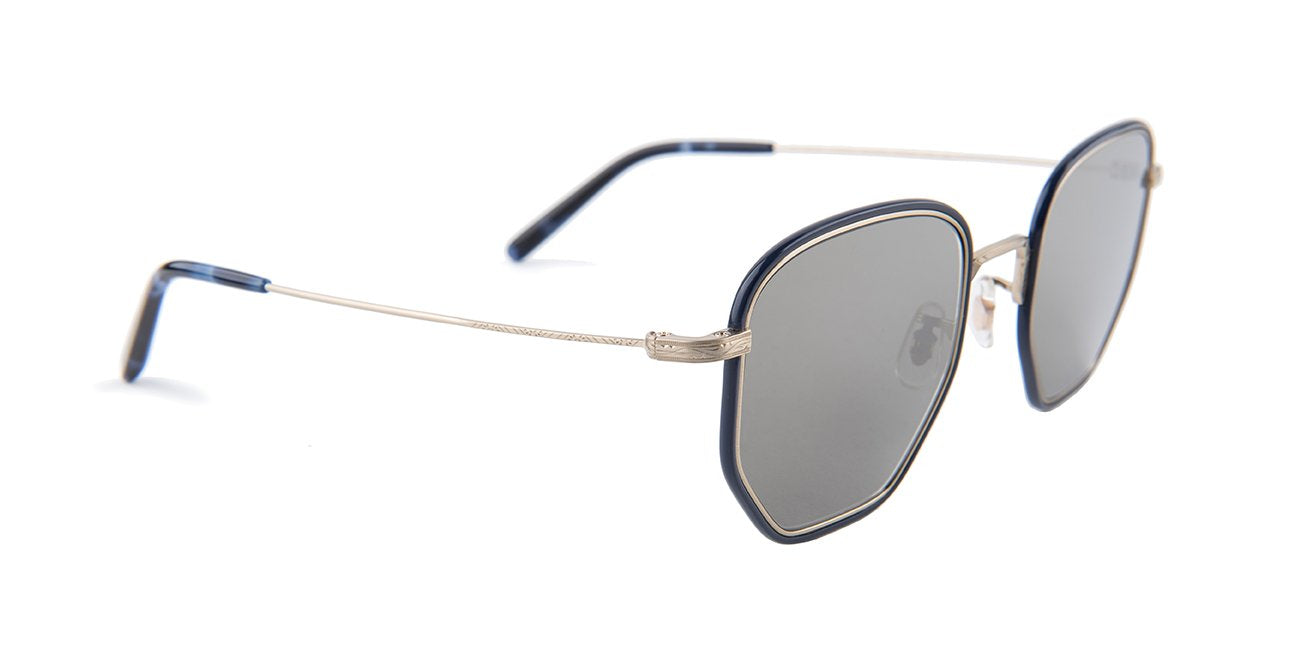 Oliver Peoples - Alland Blue Gold Oval Unisex Sunglasses - 50mm-Sunglasses-Designer Eyes