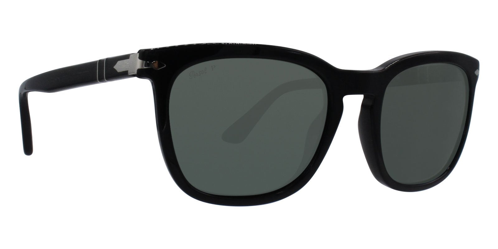 Persol - PO3193S Black Rectangular Unisex Sunglasses - 55mm-Sunglasses-Designer Eyes