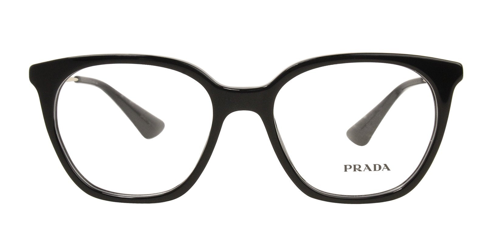 Prada - PR11TV Black/Clear Oval Women Eyeglasses - 51mm-Eyeglasses-Designer Eyes