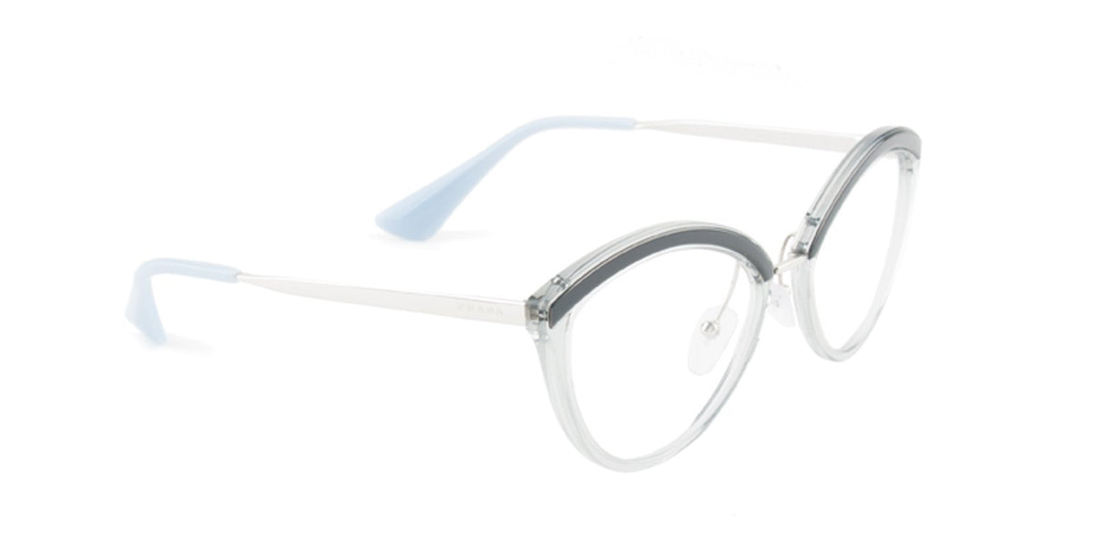 Prada - PR14UV Gray Silver/Clear Oval Women Eyeglasses - 54mm-Eyeglasses-Designer Eyes