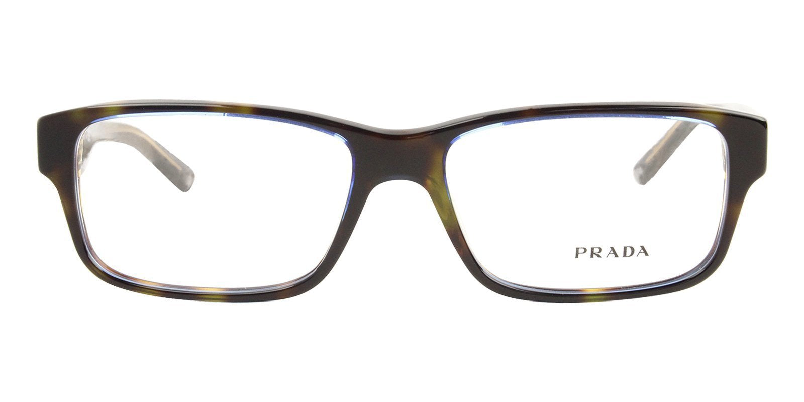 Prada - PR16MV Tortoise/Clear Rectangular Unisex Eyeglasses - 55mm-Eyeglasses-Designer Eyes