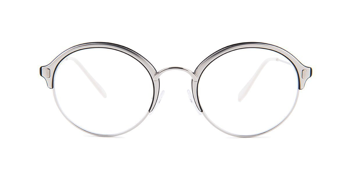 Prada - PR54VV Silver/Clear Round Women Eyeglasses - 51mm-Eyeglasses-Designer Eyes