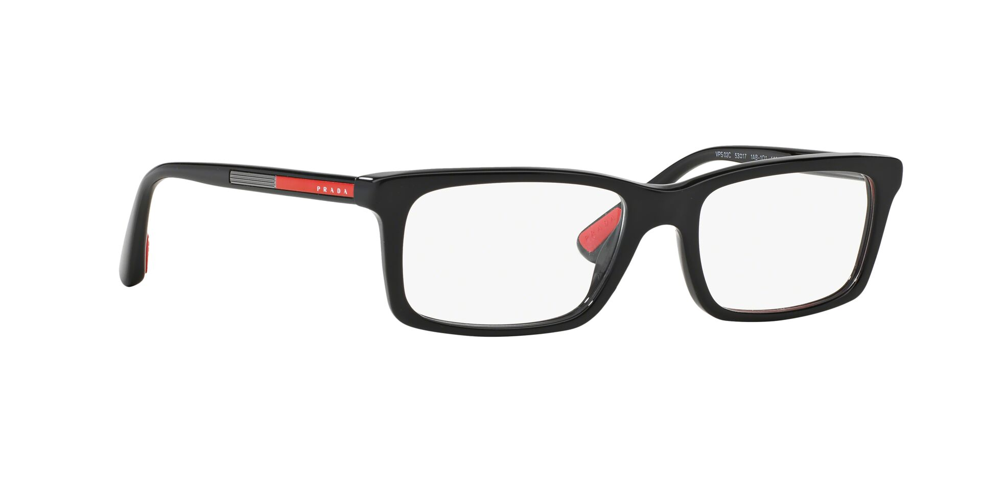 Prada Sport - PS02CV Black Rectangular Men Eyeglasses - 55mm-Eyeglasses-Designer Eyes
