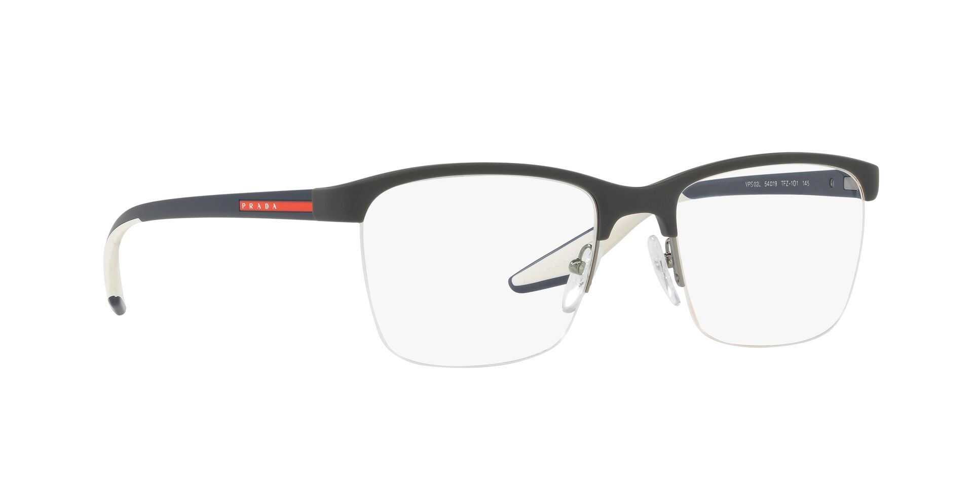 Prada Sport - VPS 02L Black Semi-Rimless Unisex Eyeglasses - 54mm-Eyeglasses-Designer Eyes