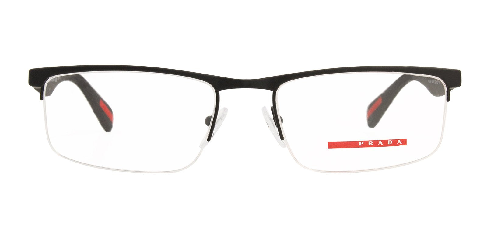 Prada Sport - VPS52F Black Semi-Rimless Men Eyeglasses - 54mm-Eyeglasses-Designer Eyes