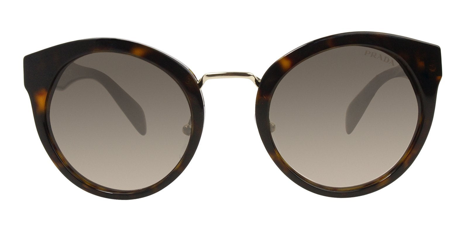 Prada - PR05TS Tortoise/Gray Gradient Oval Women Sunglasses - 53mm-Sunglasses-Designer Eyes