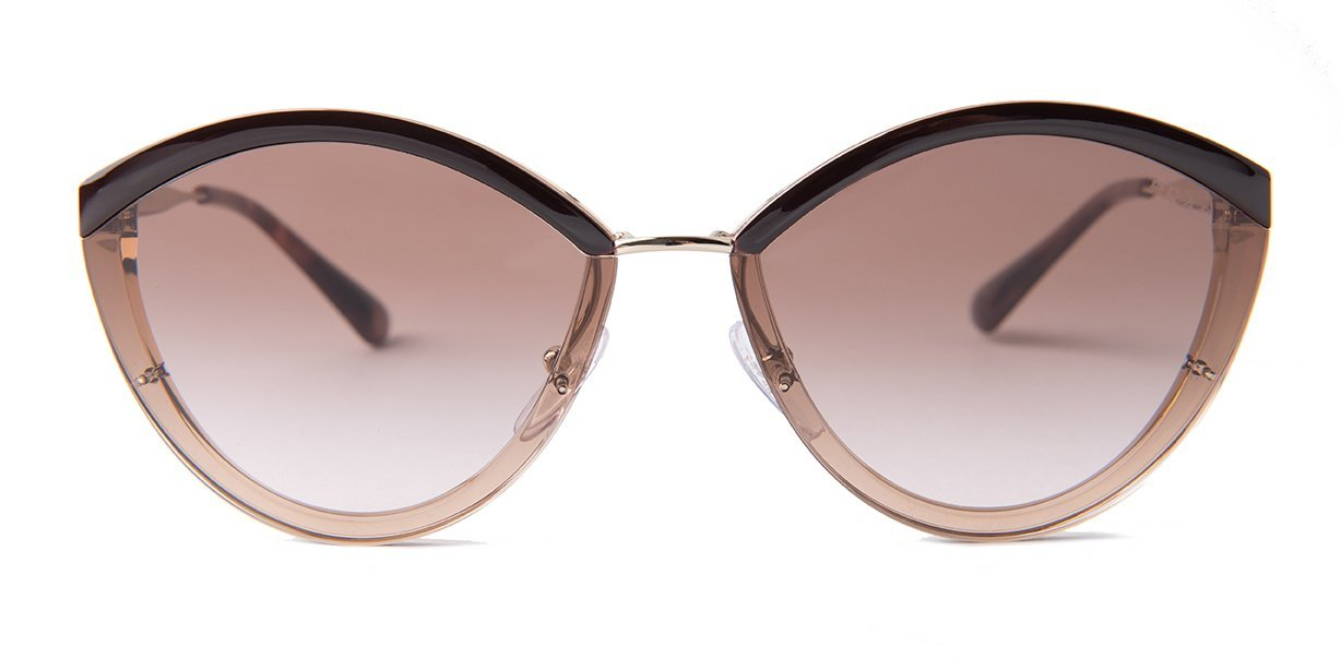 Prada - PR07US Gold/Brown Gradient Oval Women Sunglasses - 64mm-Sunglasses-Designer Eyes