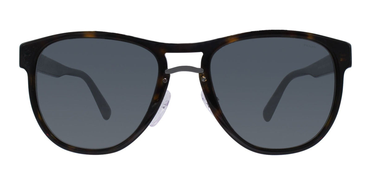 Prada - PR09US Tortoise/Gray Oval Unisex Sunglasses - 55mm-Sunglasses-Designer Eyes