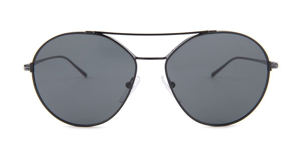 Prada - PR56US Black/Black Round Women Sunglasses - 55mm-Sunglasses-Designer Eyes