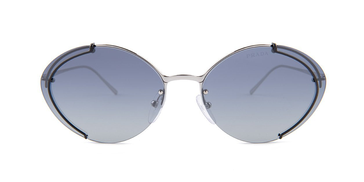 Prada - PR60US Silver/Blue Gradient Round Women Sunglasses - 63mm-Sunglasses-Designer Eyes