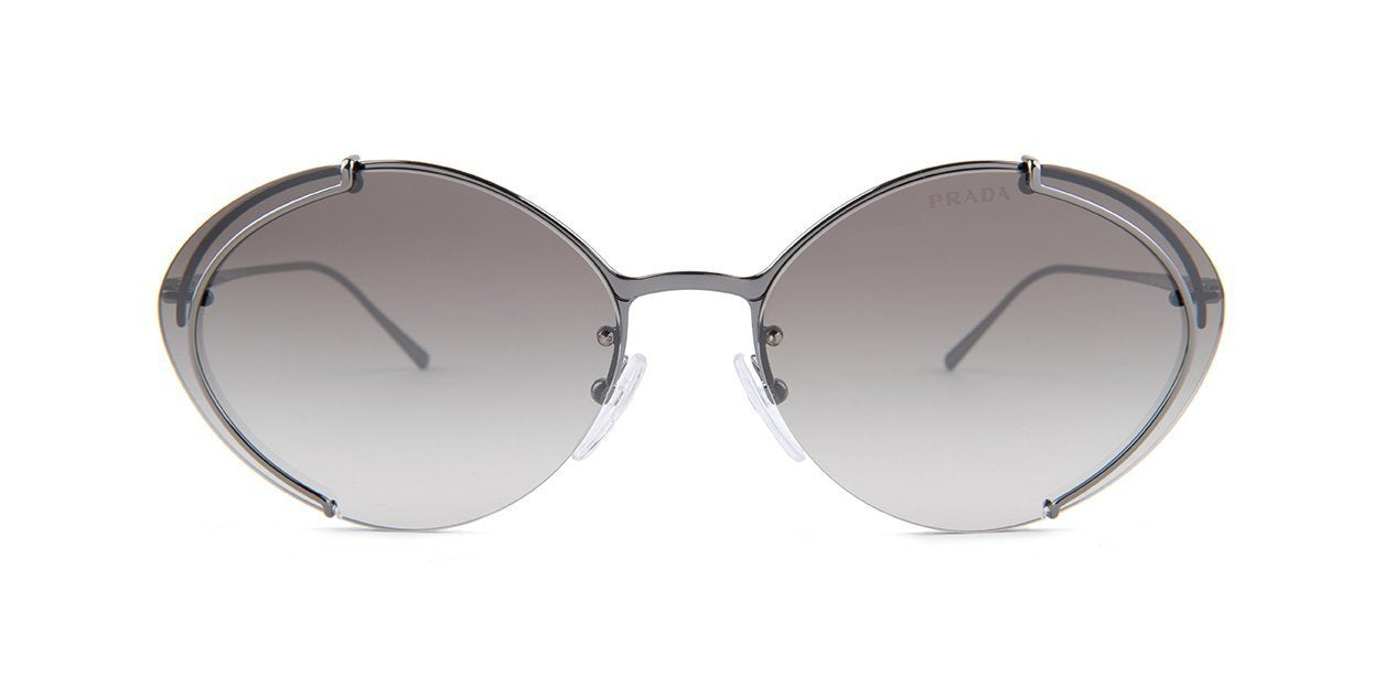 Prada - PR60US Silver/Gray Gradient Round Women Sunglasses - 63mm-Sunglasses-Designer Eyes
