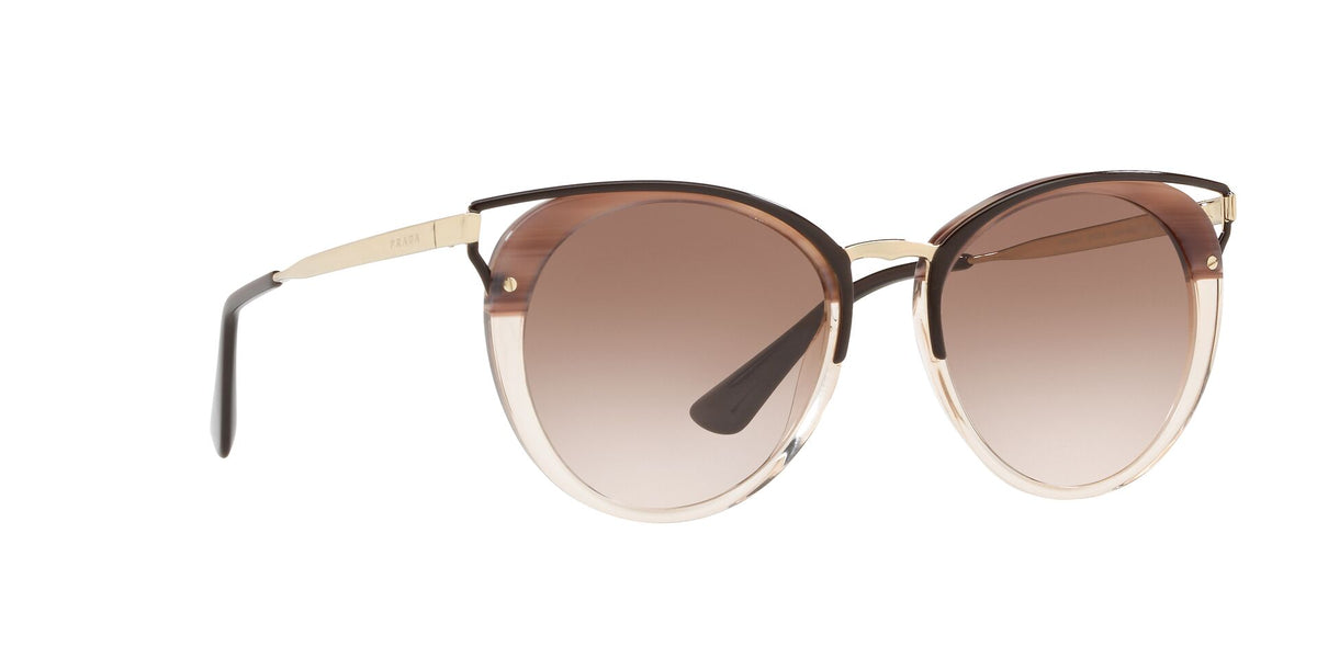 Prada - PR66TS Beige Gold/Brown Gradient Oval Women Sunglasses - 54mm-Sunglasses-Designer Eyes
