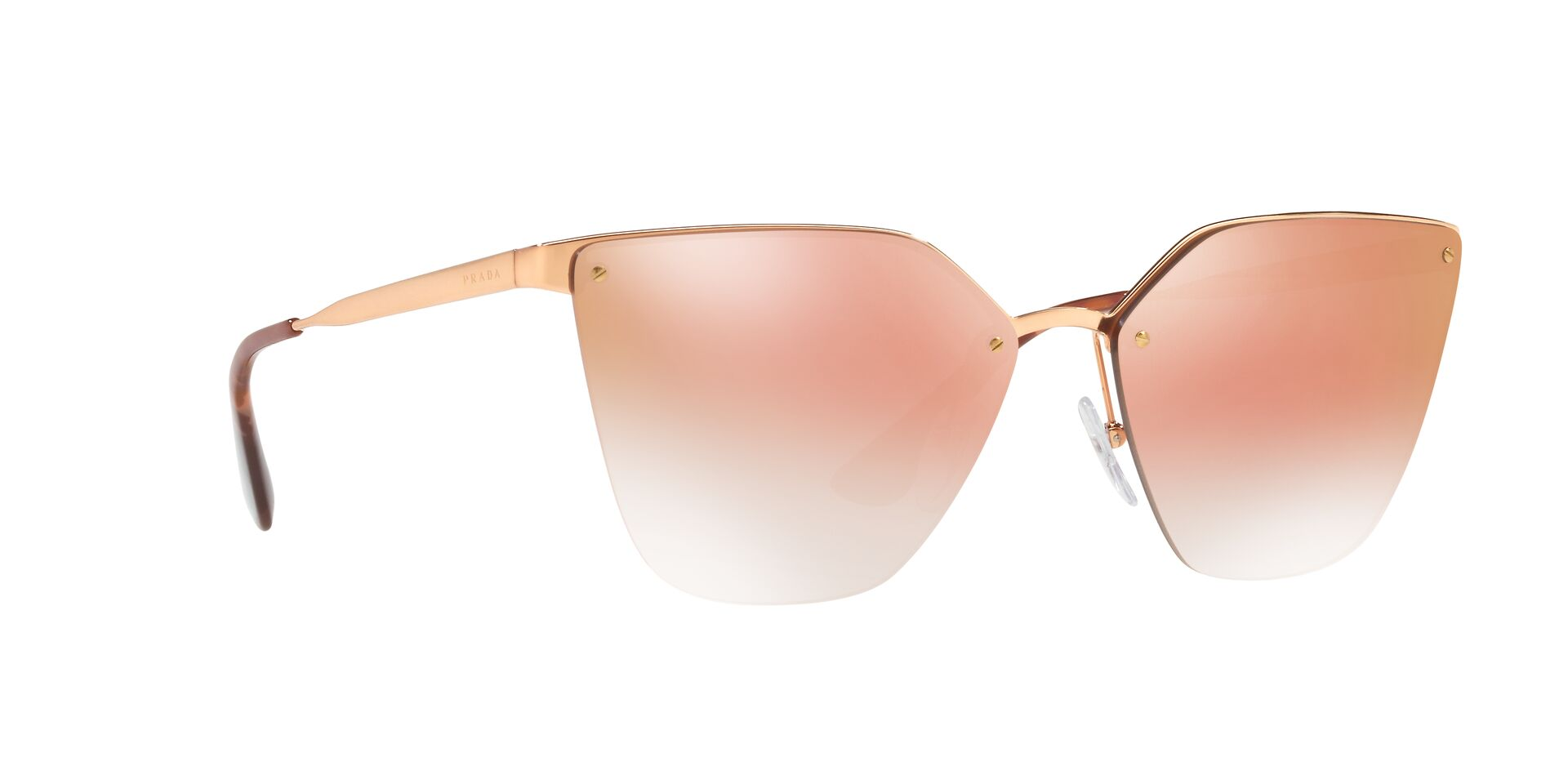 Prada - PR68TSS Bronze/Pink Mirror Rectangular Women Sunglasses - 63mm-Sunglasses-Designer Eyes