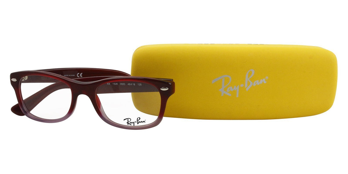 Ray Ban Jr - RY1528 Red Rectangular Unisex Eyeglasses - 46mm-Eyeglasses-Designer Eyes