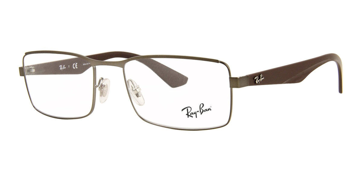Ray Ban Rx - RX6332 Gray Rectangular Men Eyeglasses - 55mm-Eyeglasses-Designer Eyes