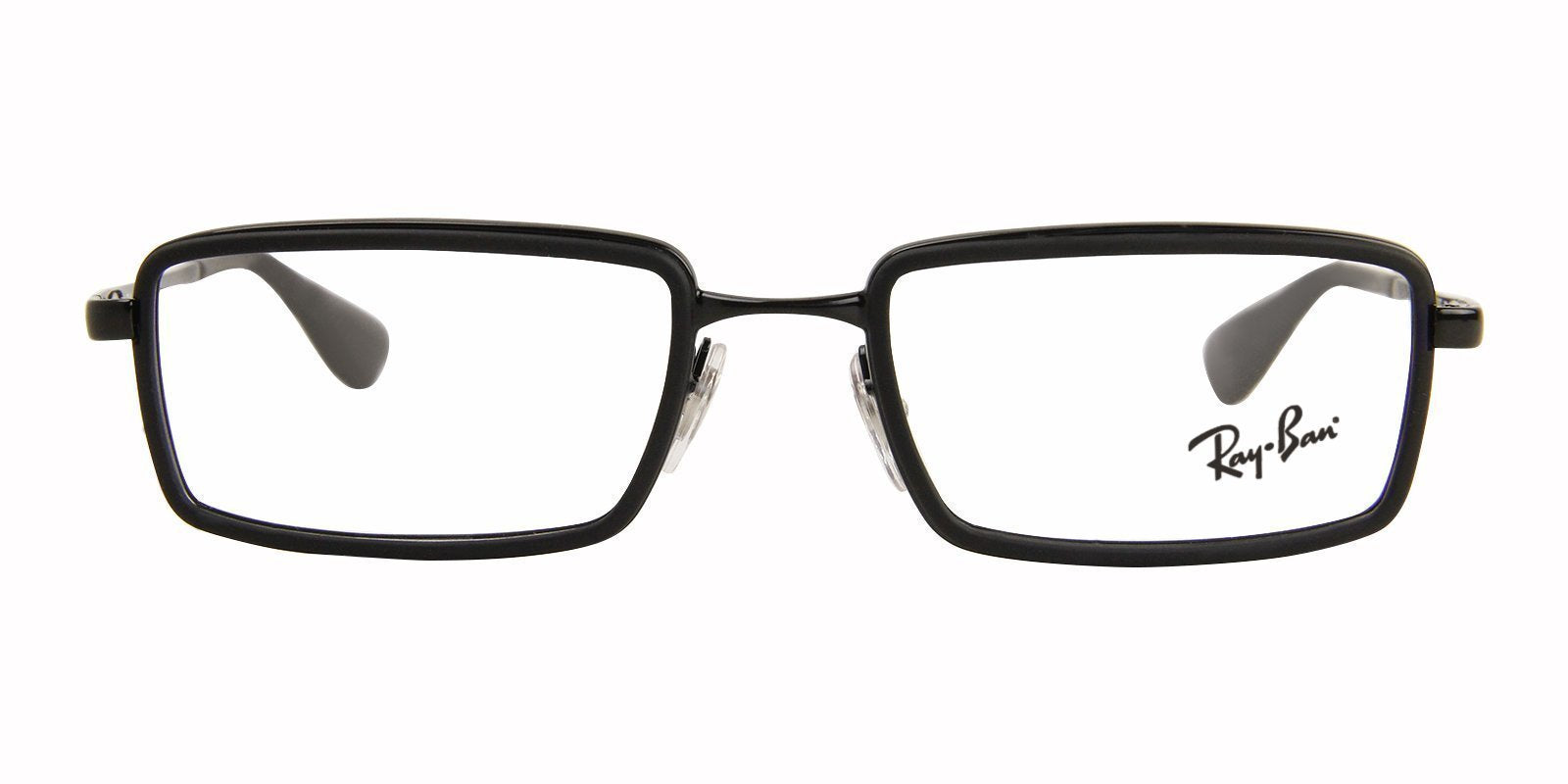 Ray Ban Rx - RX6337 Black Rectangular Unisex Eyeglasses - 51mm-Eyeglasses-Designer Eyes
