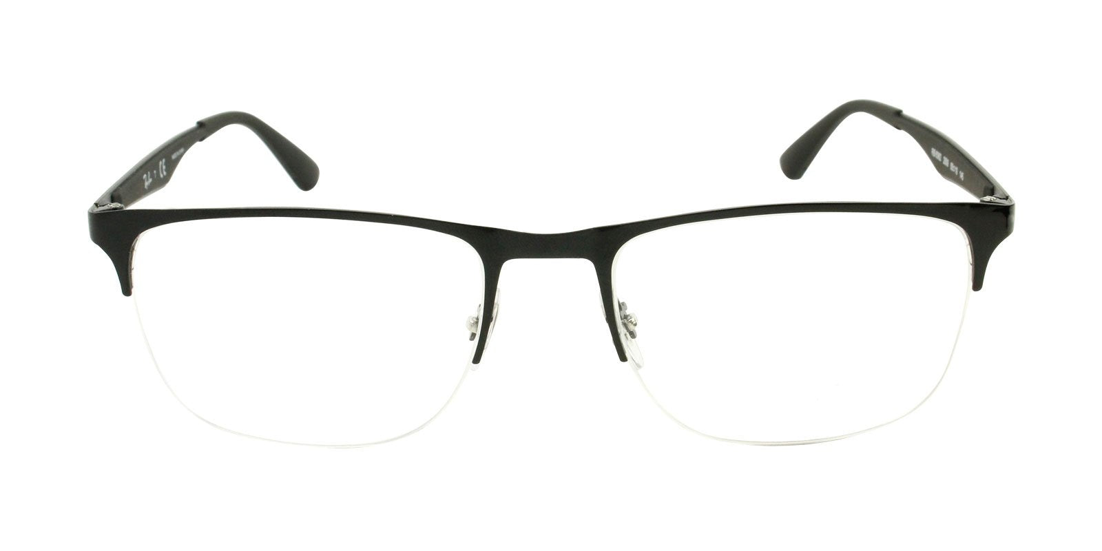 Ray Ban Rx - RX6362 Black Semi-Rimless Unisex Eyeglasses - 55mm-Eyeglasses-Designer Eyes