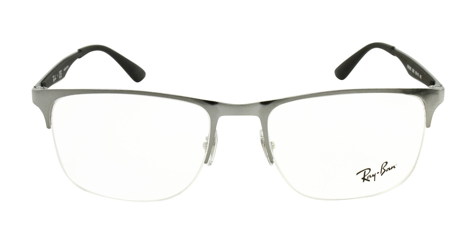 Ray Ban Rx - RX6362 Silver Semi-Rimless Men Eyeglasses - 55mm-Eyeglasses-Designer Eyes