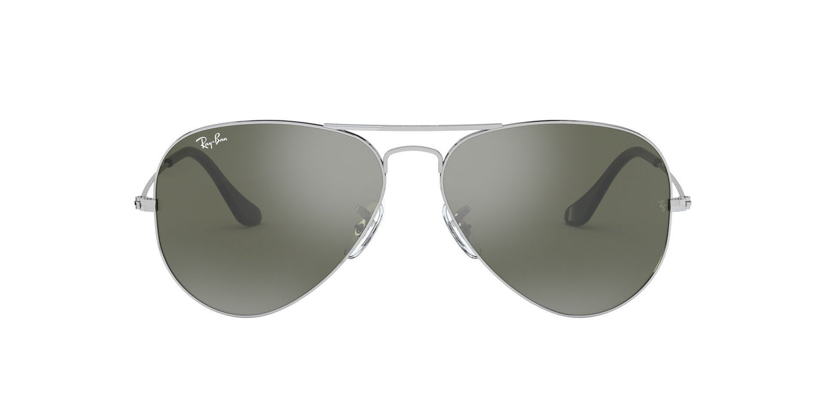 Ray Ban - Aviator Silver Unisex Sunglasses - 55mm-Sunglasses-Designer Eyes