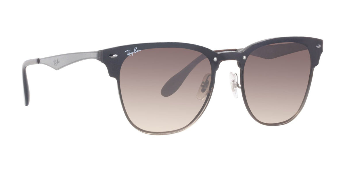 Ray Ban - Blaze Clubmaster Brown Oval Unisex Sunglasses - 47mm-Sunglasses-Designer Eyes