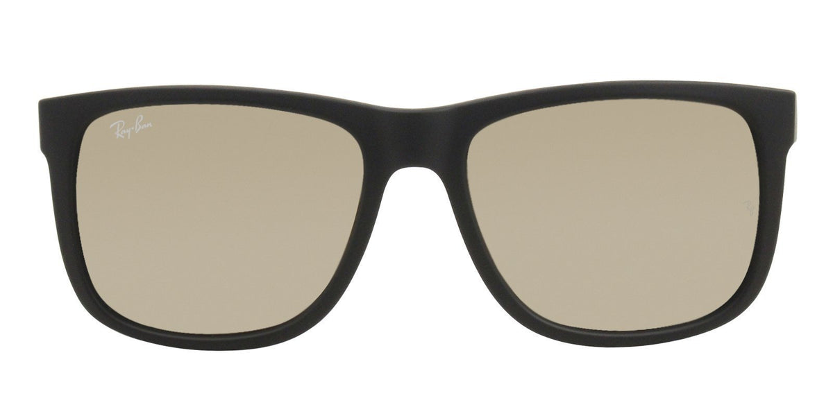 Ray Ban - Justin Black Rectangular Unisex Sunglasses - 55mm-Sunglasses-Designer Eyes