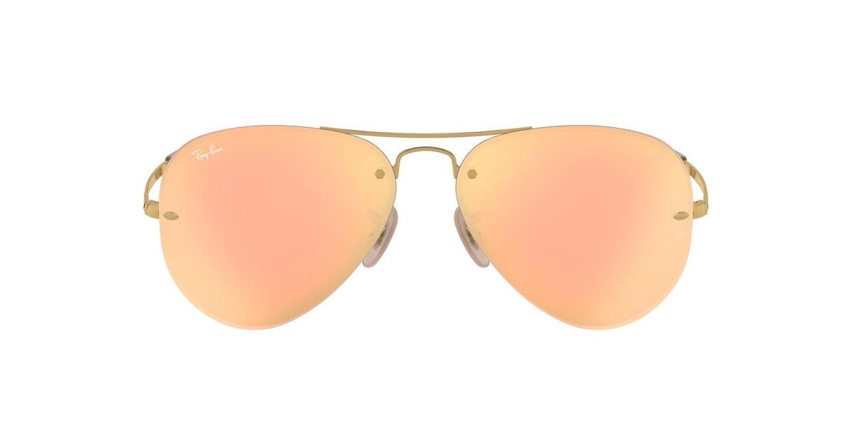 Ray Ban - RB3449 Gold Aviator Unisex Sunglasses - 59mm-Sunglasses-Designer Eyes