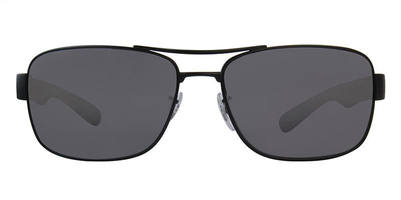 Ray Ban - RB3522 Black Rectangular Men Sunglasses - 64mm-Sunglasses-Designer Eyes