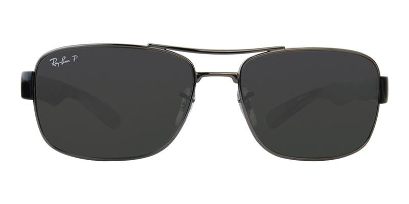 Ray Ban - RB3522 Gray Rectangular Men Sunglasses - 61mm-Sunglasses-Designer Eyes
