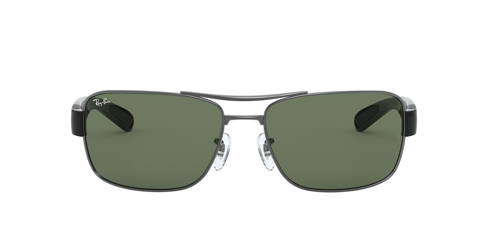 Ray Ban - RB3522 Gray Rectangular Men Sunglasses - 64mm-Sunglasses-Designer Eyes
