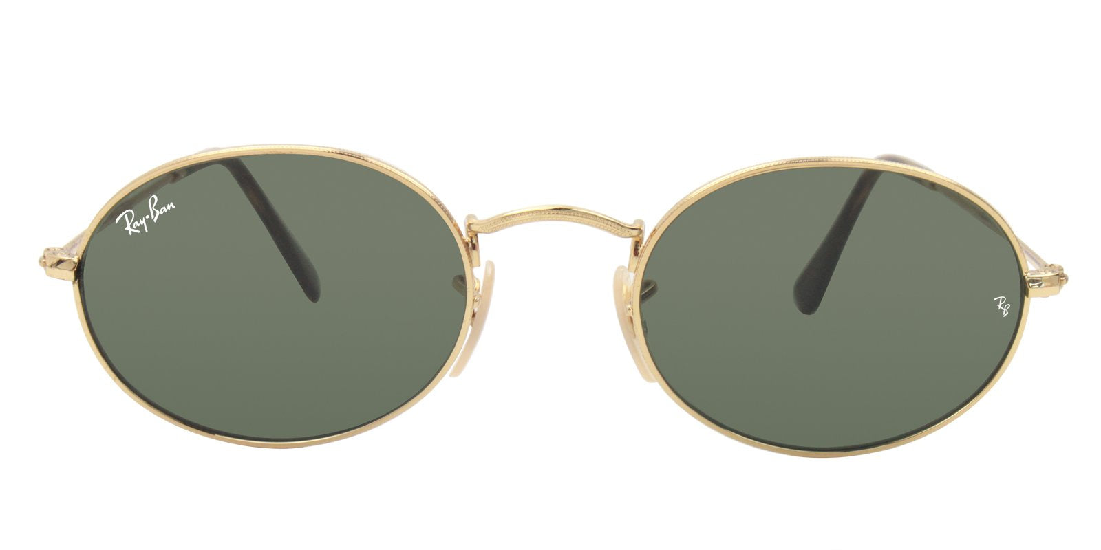 Ray Ban - RB3547N Gold Oval Unisex Sunglasses - 51mm-Sunglasses-Designer Eyes