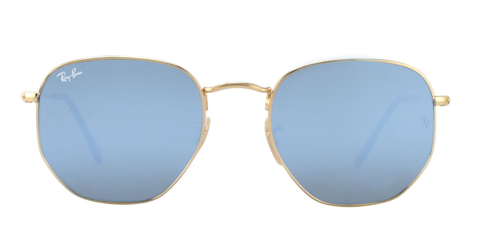 Ray Ban - RB3548N Gold Oval Unisex Sunglasses - 54mm-Sunglasses-Designer Eyes