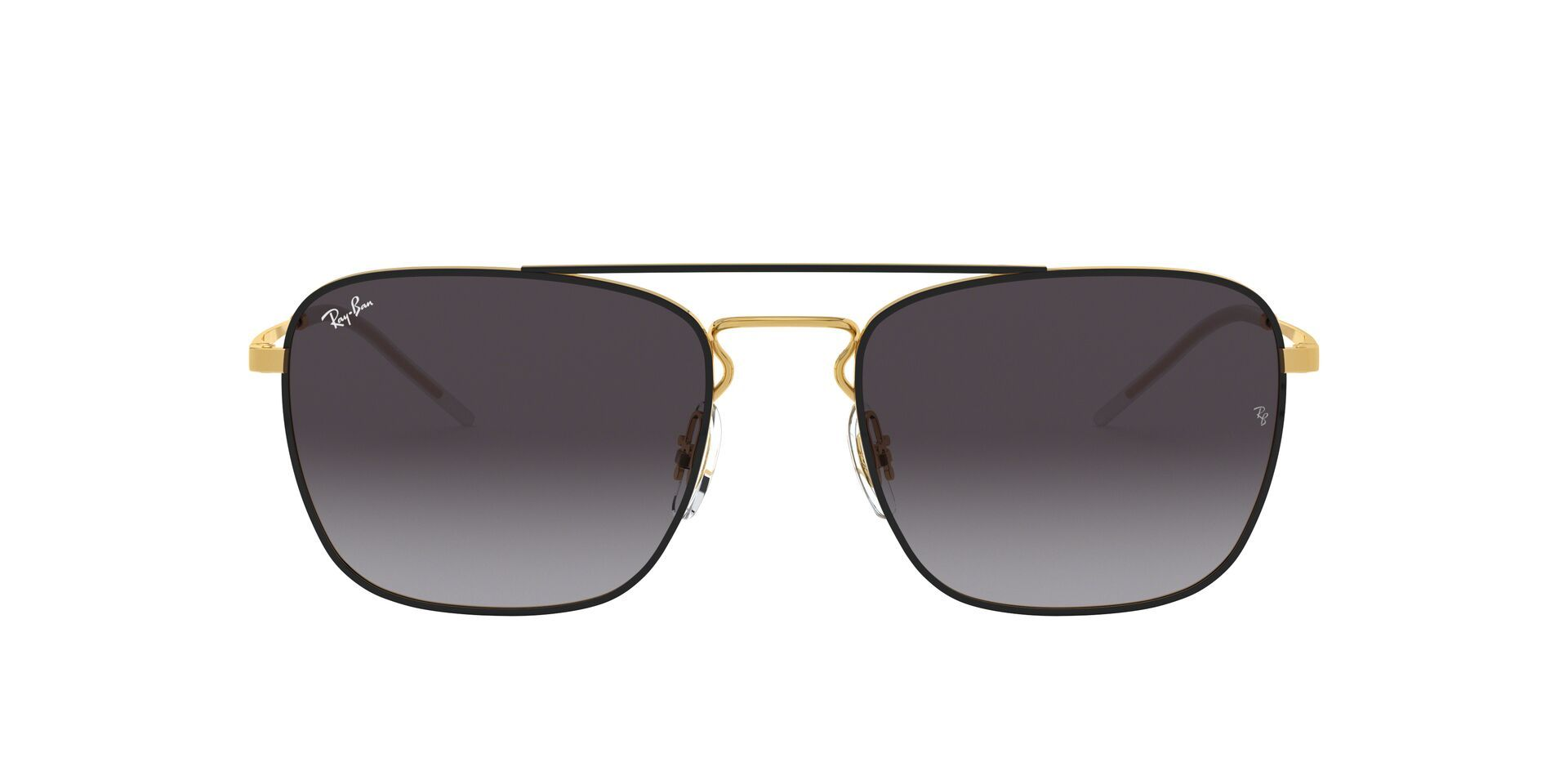 Ray Ban - RB3588 Black Gold Rectangular Unisex Sunglasses - 55mm-Sunglasses-Designer Eyes
