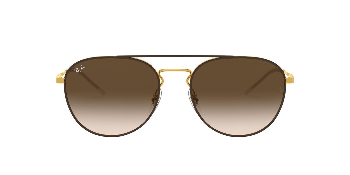 Ray Ban - RB3589 Gold Oval Unisex Sunglasses - 55mm-Sunglasses-Designer Eyes