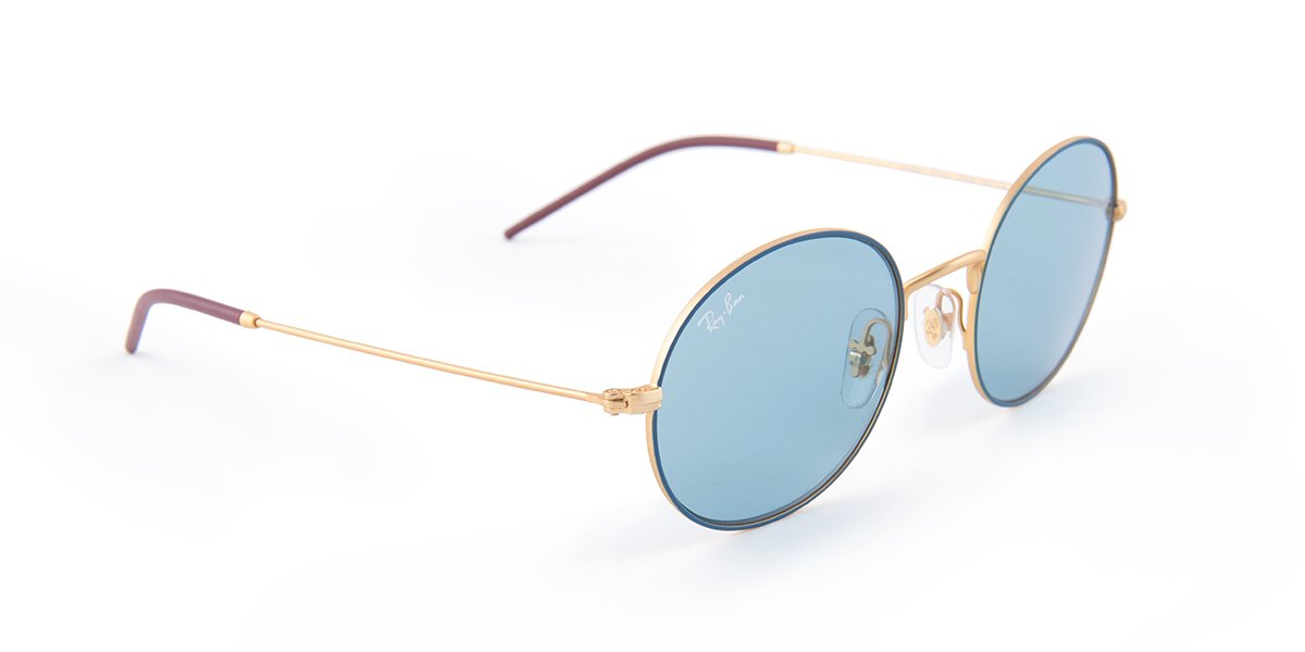 Ray Ban - RB3594 Blue Round Women Sunglasses - 53mm-Sunglasses-Designer Eyes