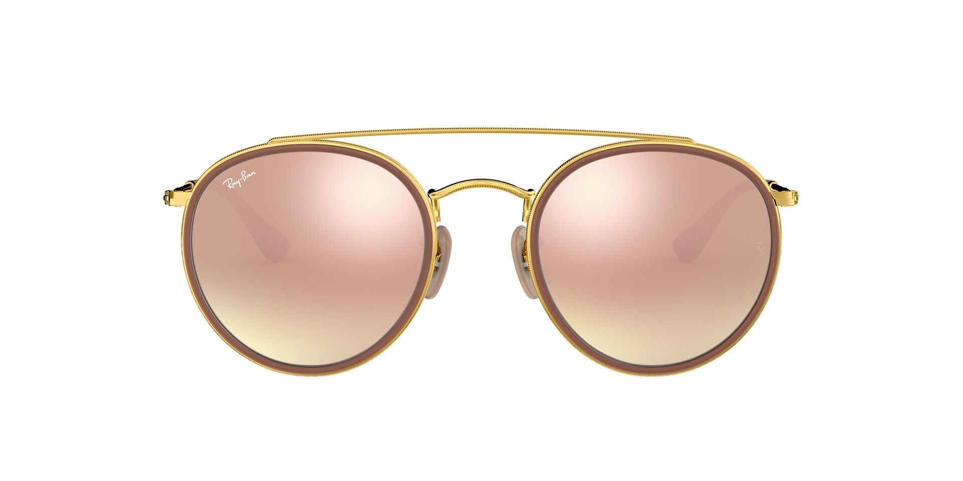 Ray Ban - RB3647N Gold Brown Oval Unisex Sunglasses - 51mm-Sunglasses-Designer Eyes