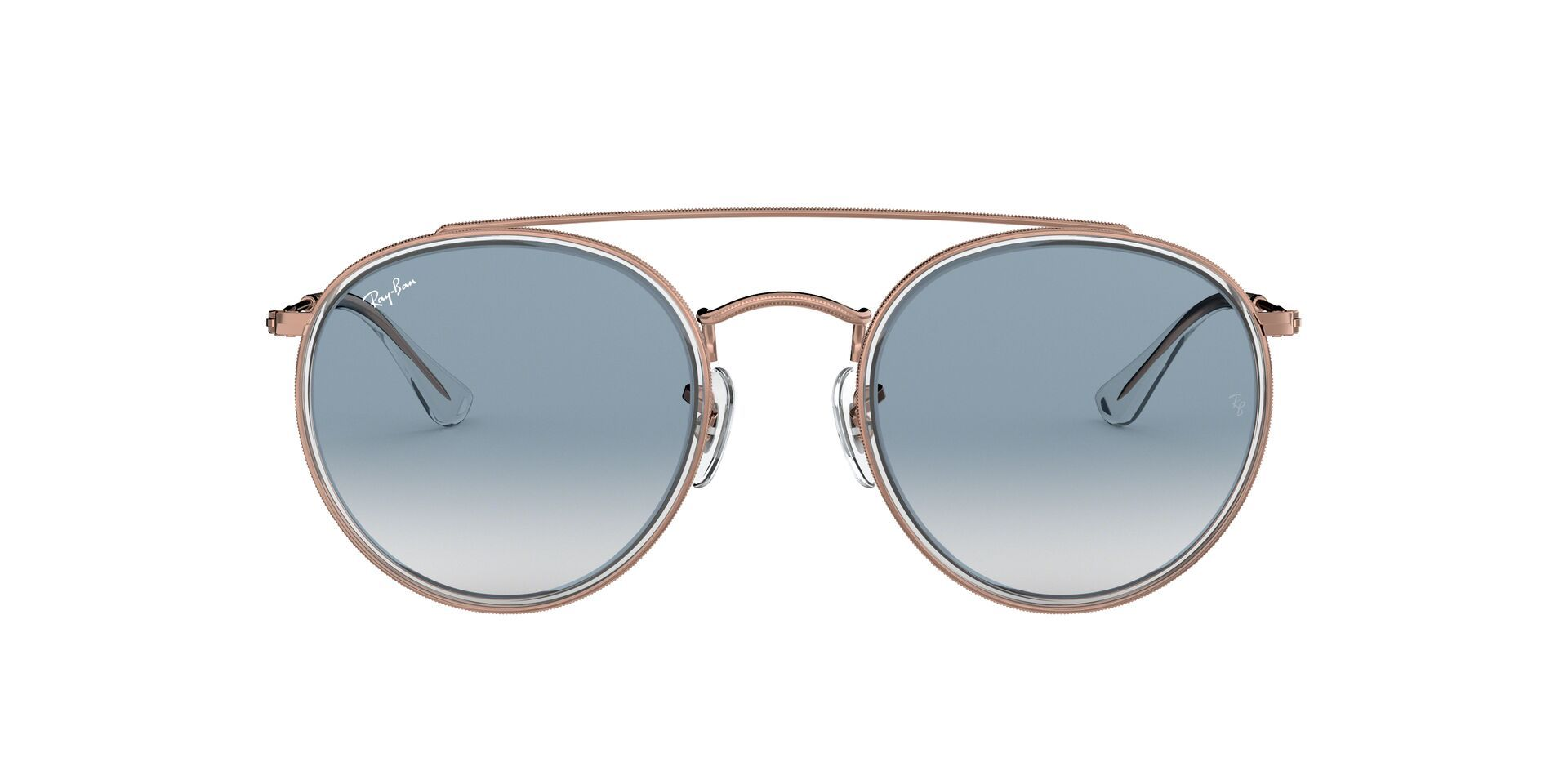Ray Ban - RB3647N Rose Gold Oval Unisex Sunglasses - 51mm-Sunglasses-Designer Eyes
