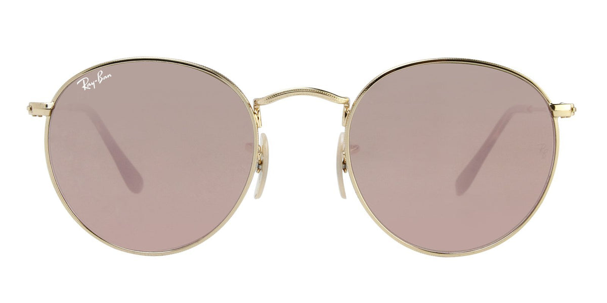 Ray Ban - Round Flat lenses Gold Oval Unisex Sunglasses - 50mm-Sunglasses-Designer Eyes