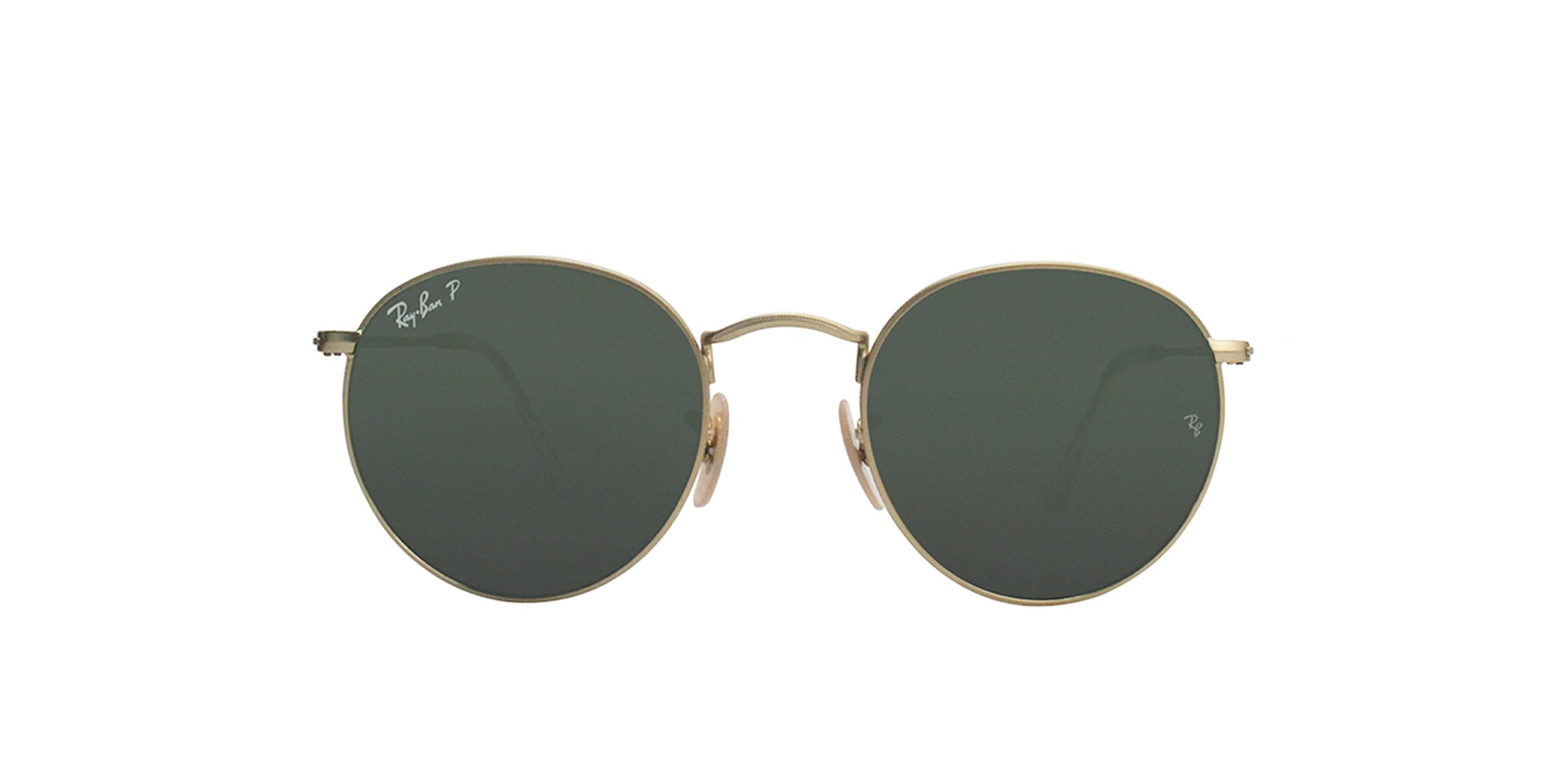 Ray Ban - Round Metal Gold Oval Unisex Sunglasses - 50mm-Sunglasses-Designer Eyes