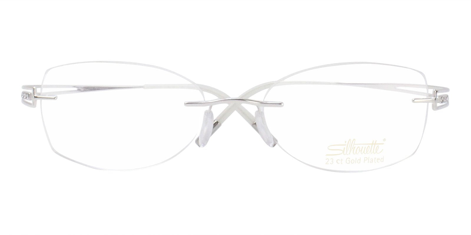 Silhouette - S4489/00 Silver Rimless Women Eyeglasses - 51mm-Eyeglasses-Designer Eyes