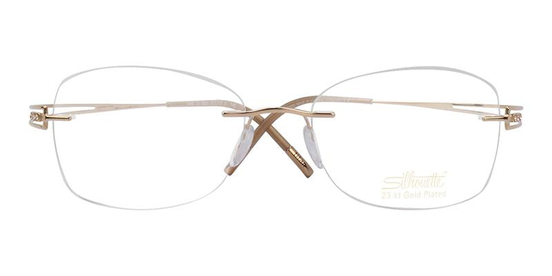 Silhouette - S4490/20 Gold Rimless Women Eyeglasses - 52mm-Eyeglasses-Designer Eyes