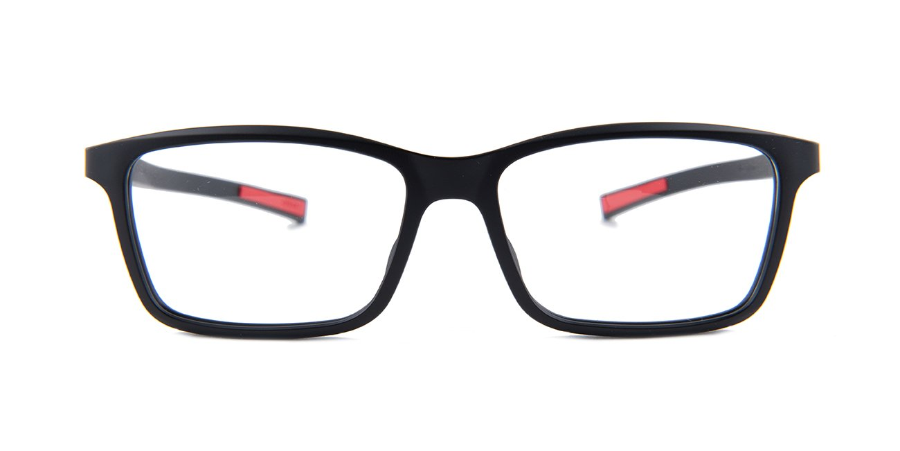 Tagheuer - TH0518 Black Rectangular Men Eyeglasses - 54mm-Eyeglasses-Designer Eyes