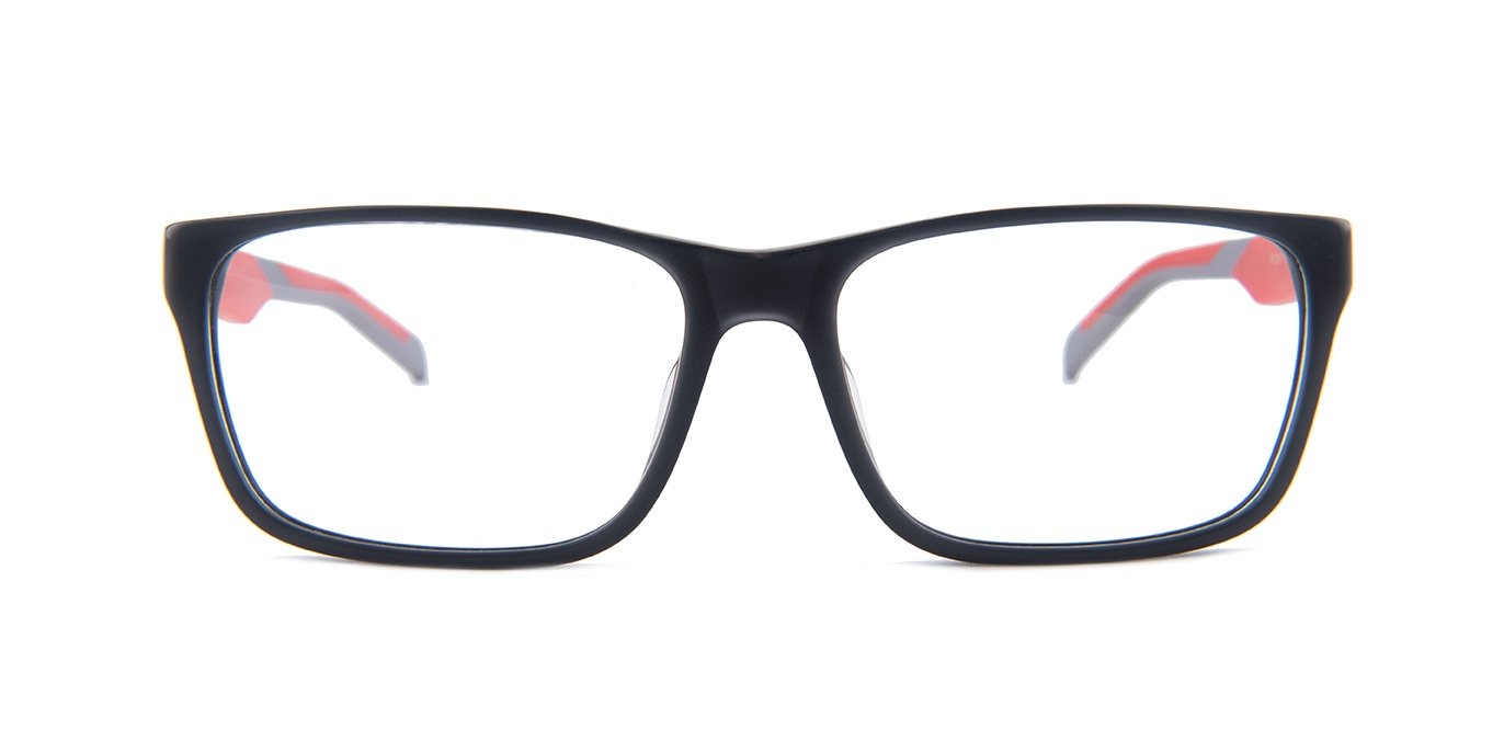 Tagheuer - TH0552 Gray Red Rectangular Men Eyeglasses - 57mm-Eyeglasses-Designer Eyes