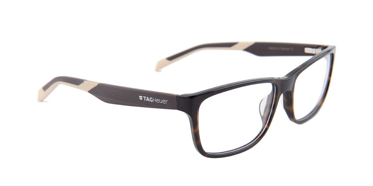 Tagheuer - TH0553 Tortoise Rectangular Men Eyeglasses - 57mm-Eyeglasses-Designer Eyes