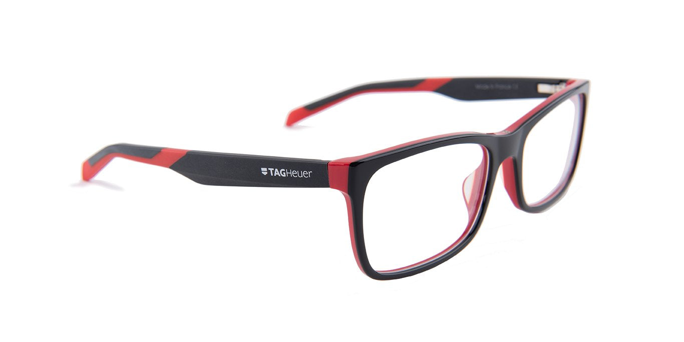 Tagheuer - TH0554 Black Rectangular Men Eyeglasses - 56mm-Eyeglasses-Designer Eyes