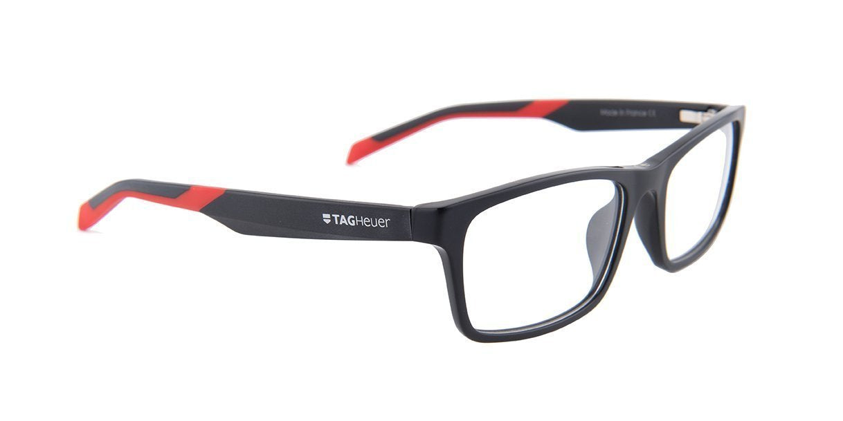 Tagheuer - TH0555 Black Rectangular Men Eyeglasses - 55mm-Eyeglasses-Designer Eyes